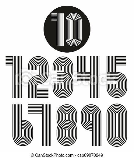 Retro stripes funky numbers set - csp69070249