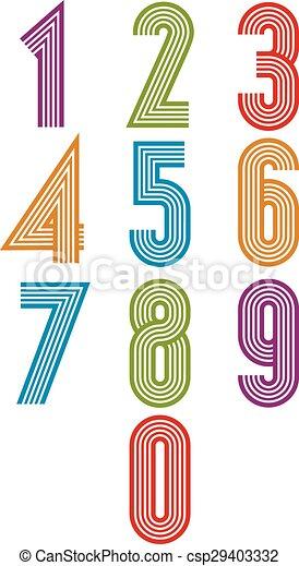 Retro stripes funky numbers set - csp29403332