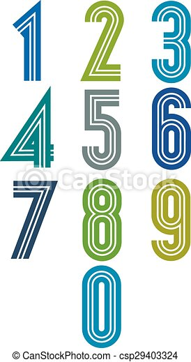 Retro stripes funky numbers set - csp29403324