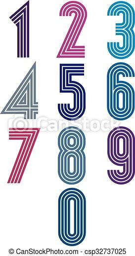 Retro stripes funky numbers set. - csp32737025