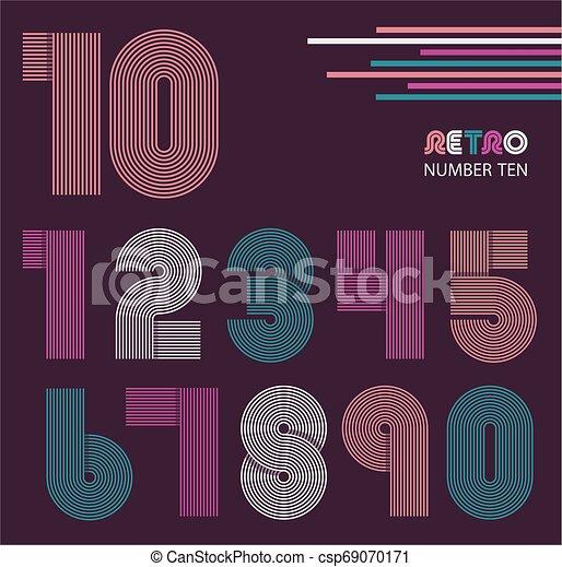 Retro stripes funky numbers set - csp69070171