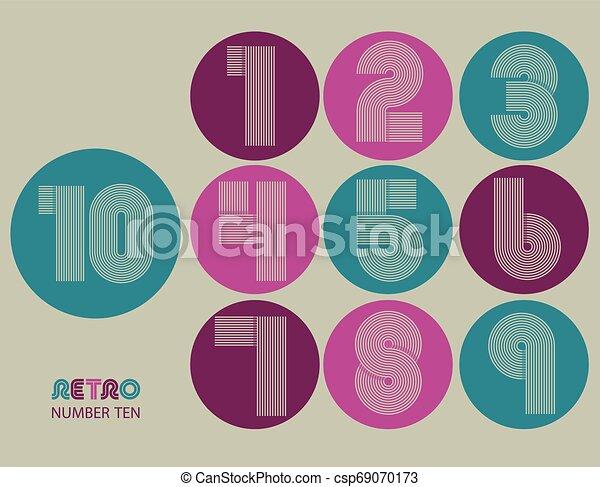 Retro stripes funky numbers set - csp69070173