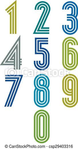 Retro stripes funky numbers set - csp29403316