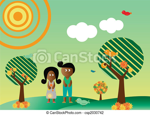 Retro style african american couple in landscape - csp2030742