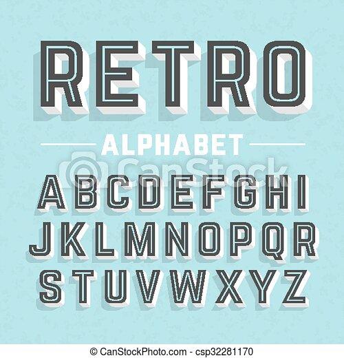 Retro style alphabet - csp32281170