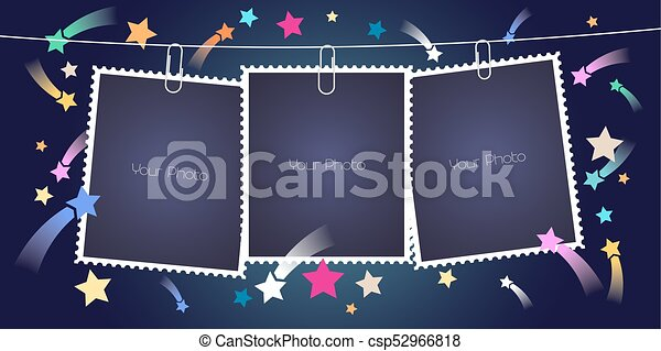 Retro Style Collage Of Photo Frames With Pile Vector Illustration