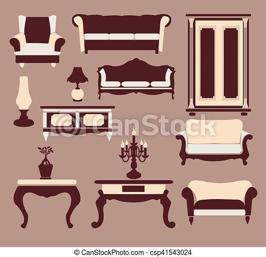 Retro style furniture silhouettes. Interior icons set vintage style ...