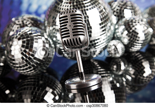Vintage microphone and Music background