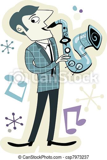 Retro Style Sax Player Cartoon - csp7973237