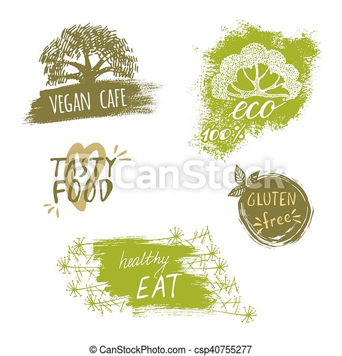 Retro style set of bio, organic, gluten free, eco, healthy food labels. Logo templates with floral and vintage elements for meal and drink, cafe, restaurants or organic products packaging - csp40755277