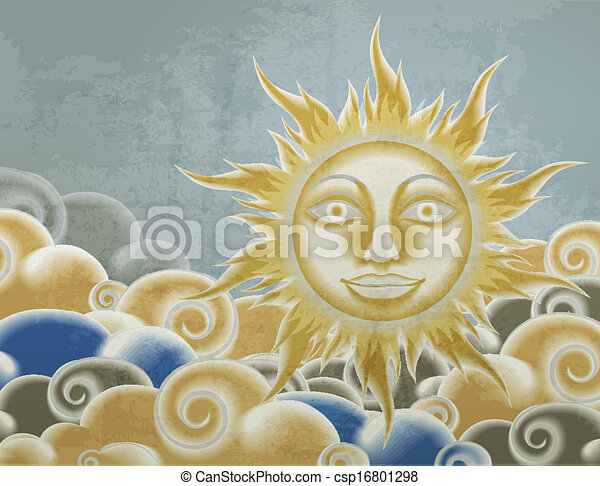 Retro style sun and clouds illustration - csp16801298