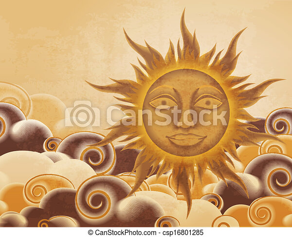 Retro style sun and clouds illustration - csp16801285
