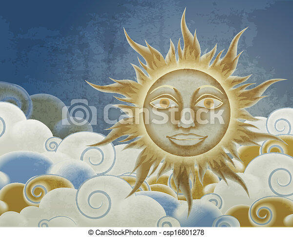 Retro style sun and clouds illustration - csp16801278