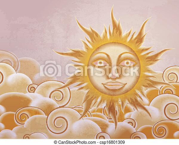 Retro style sun and clouds illustration - csp16801309