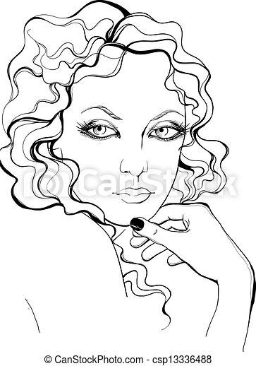 Retro style woman portrait - csp13336488