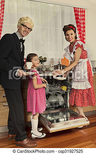 Retro styled family in a kitchen. - csp31927525
