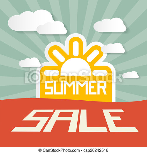 Retro Summer Sale Paper Title on Landscape Background with Sun and Clouds  - csp20242516