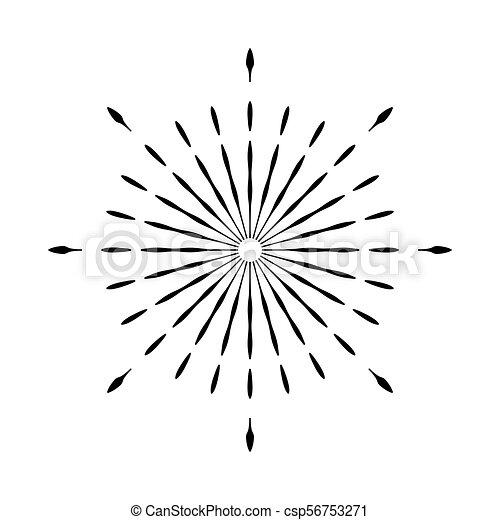 Retro Sun Burst Shape Vintage Logo Label Badge Vector Design Element Isolated Minimal Black
