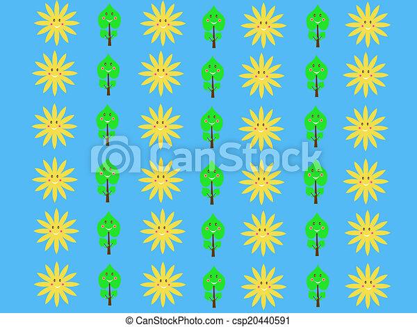 Retro Sun Kids Pattern Wallpaper Background