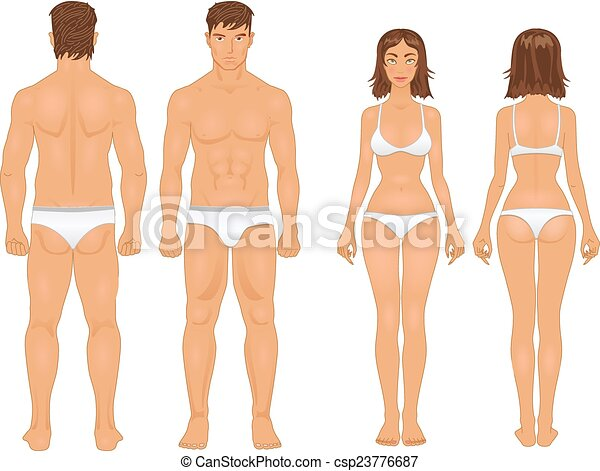 retro, sunde, type, kvinde mand, farver, krop - csp23776687