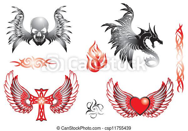 Retro Tattoo Design Elements Various Hand Drawn Retro Tattoo Design