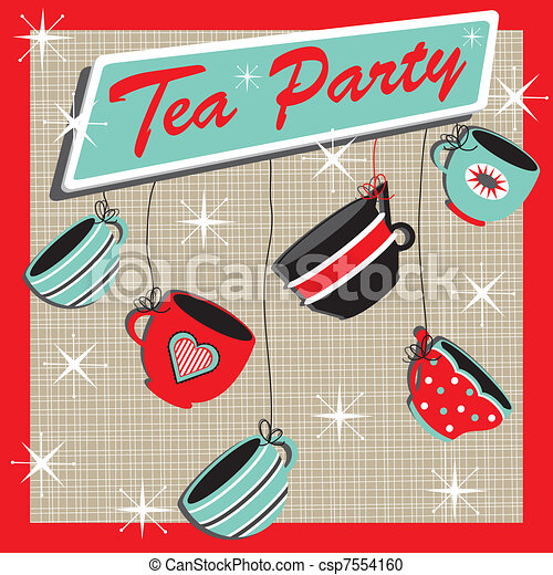 Tea party invitation. Stacked tea cups on a tea stained... vector ...