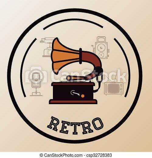Retro technology design  - csp32728383