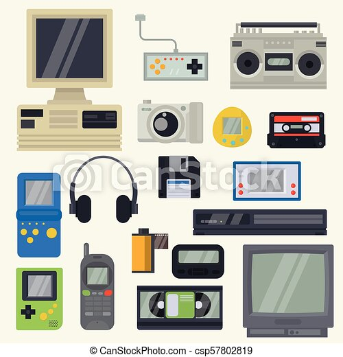 Retro technology vector vintage computer tech and old pc ...