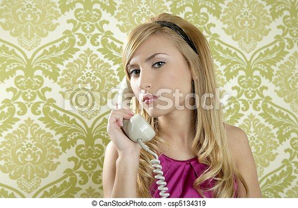 retro telephone woman vintage wallpaper - csp5134319