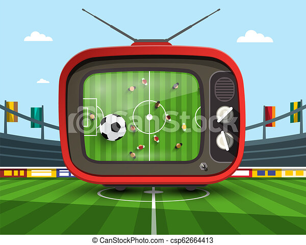 Retro Television with Soccer Match on Footbal Stadium - Vector - csp62664413