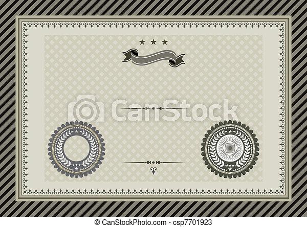 Retro template certificate with sea - csp7701923