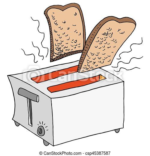 Retro Toaster Toasting Bread - csp45387587