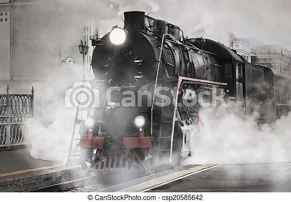 retro, train., vapeur - csp20585642