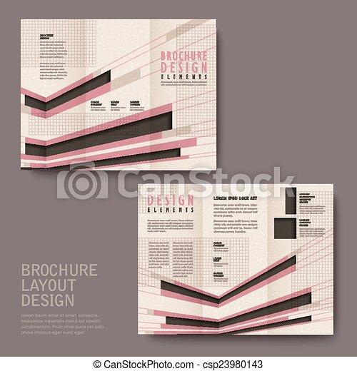 retro tri fold brochure design in pink and black