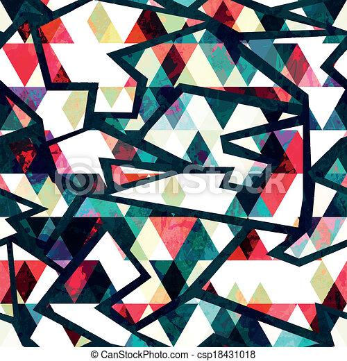 retro triangle seamless pattern grunge effect - csp18431018