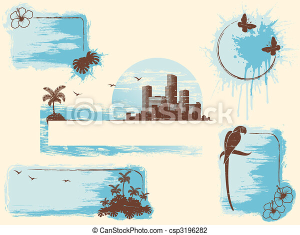 Retro tropical grunge banners in cool tones - csp3196282