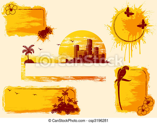 Retro tropical grunge banners in warm tones - csp3196281