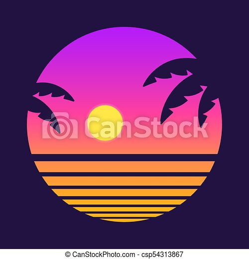Retro tropical sunset. Retro style tropical sunset with ...