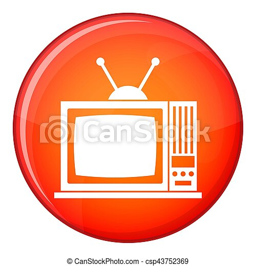 Retro TV icon, flat style - csp43752369