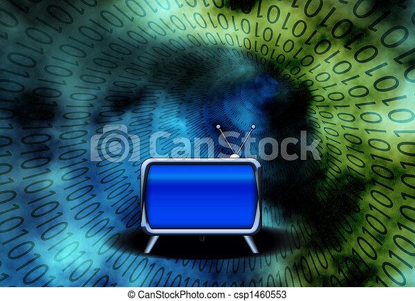 Retro TV in Binary Tunnel - csp1460553