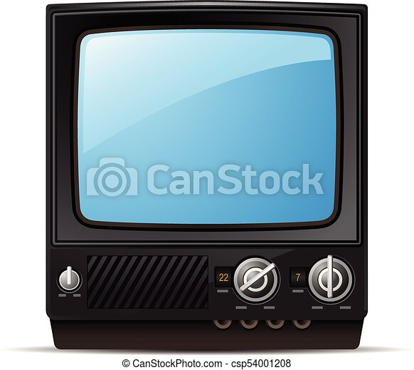 retro tv set with blank screen vintage television front view csp54001208