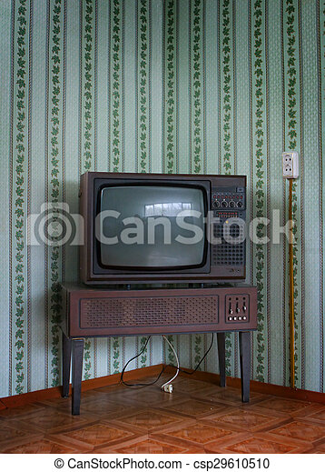 Retro Tv With Wooden Case In Room Vintage Wallpaper