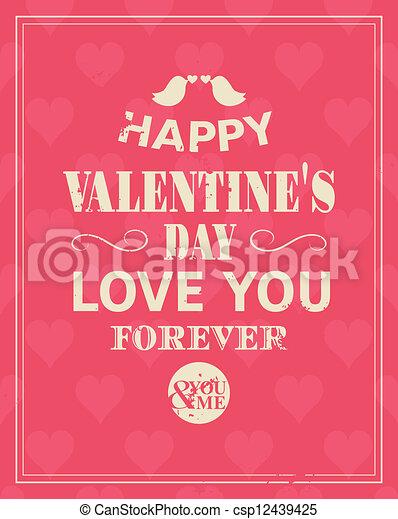 Retro Valentine's Day Card - csp12439425