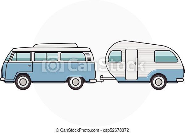 Retro Van With Camper Trailer