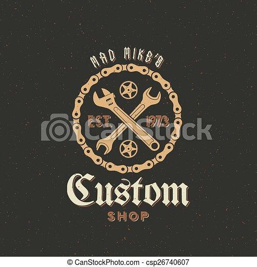 Retro Vector Bicycle Custom Shop Label or Logo Design - csp26740607