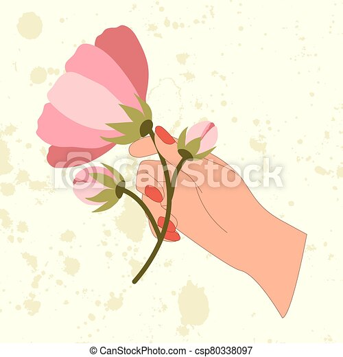 Retro vector illustration of hand with pink flower branch. - csp80338097