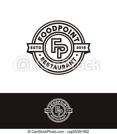retro vector stamp circle logo template black line art monogram