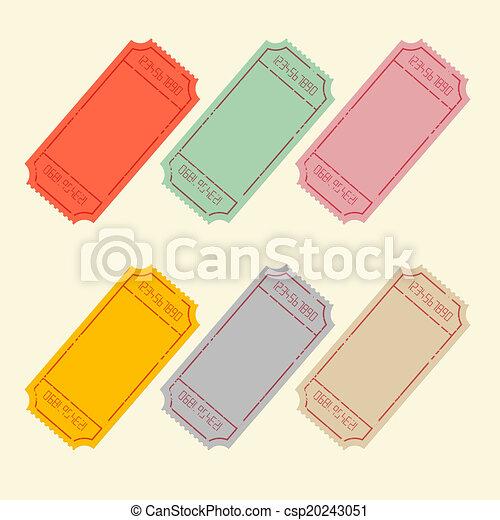 Retro Vector Ticket Set Illustration - csp20243051