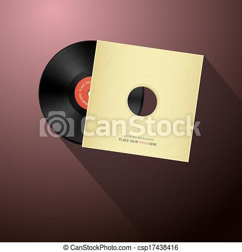 Retro Vector Vinyl Record Disc in Paper Cover - csp17438416