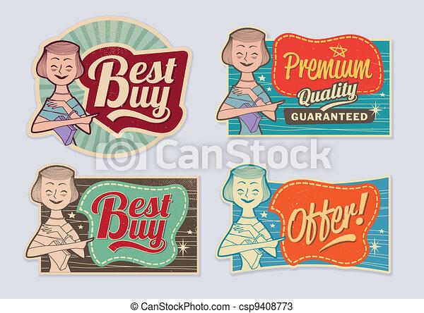 Retro vintage advertising labels - csp9408773
